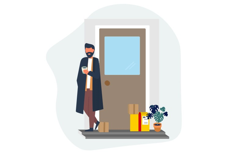 Illustration of person receiving shipment delivery from DHL