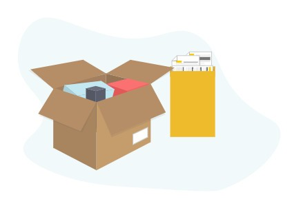 Illustration of goods being packed into an envelope or box