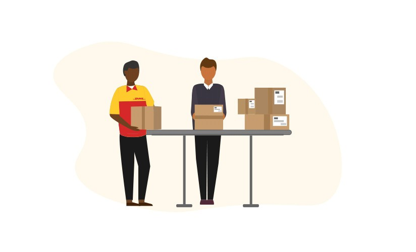 Illustration of DHL working with customs authorities to process shipments