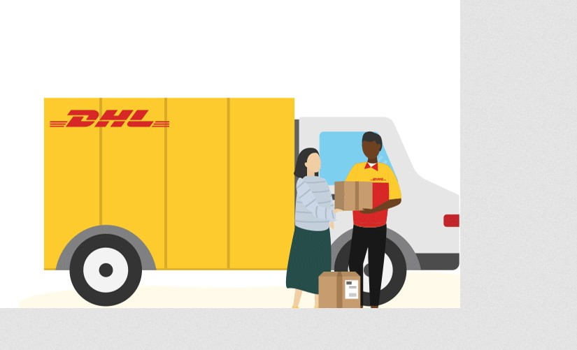 Woman handing a box to a DHL courier