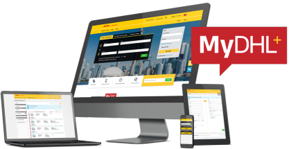 MyDHL+ website on multiple electronic devices